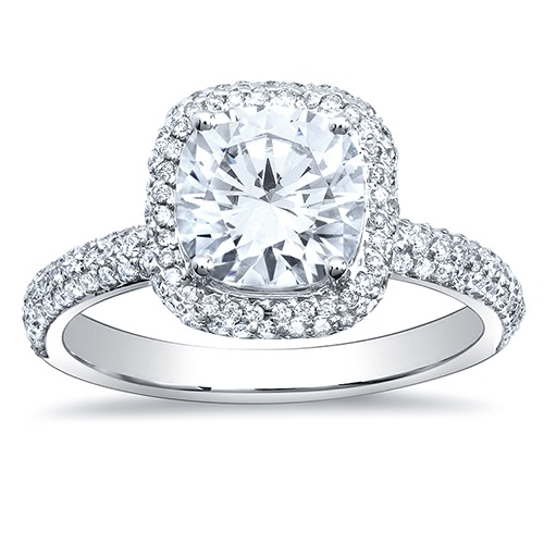 Cushion cut halo engagement rings pave