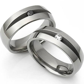 Titanium Diamond Men's Wedding Ring